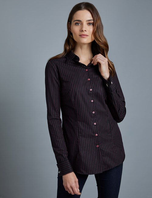 Women's Black & Fuchsia Fine Stripe Fitted Shirt – Double Cuffs