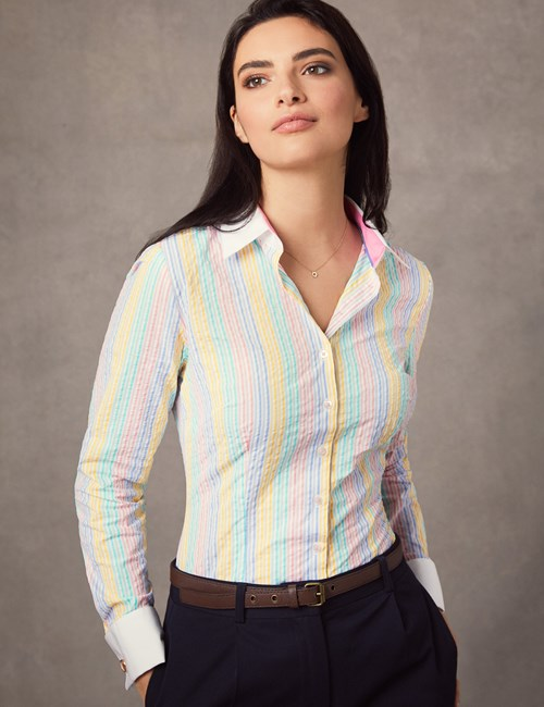 Women's White & Light Pink Multi Stripe Fitted Shirt – Double Cuff