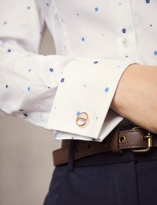 Women's White & Blue Floral Fitted Shirt – French Cuff