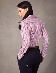 Women's White & Pink Multi Stripe Fitted Shirt – Double Cuff