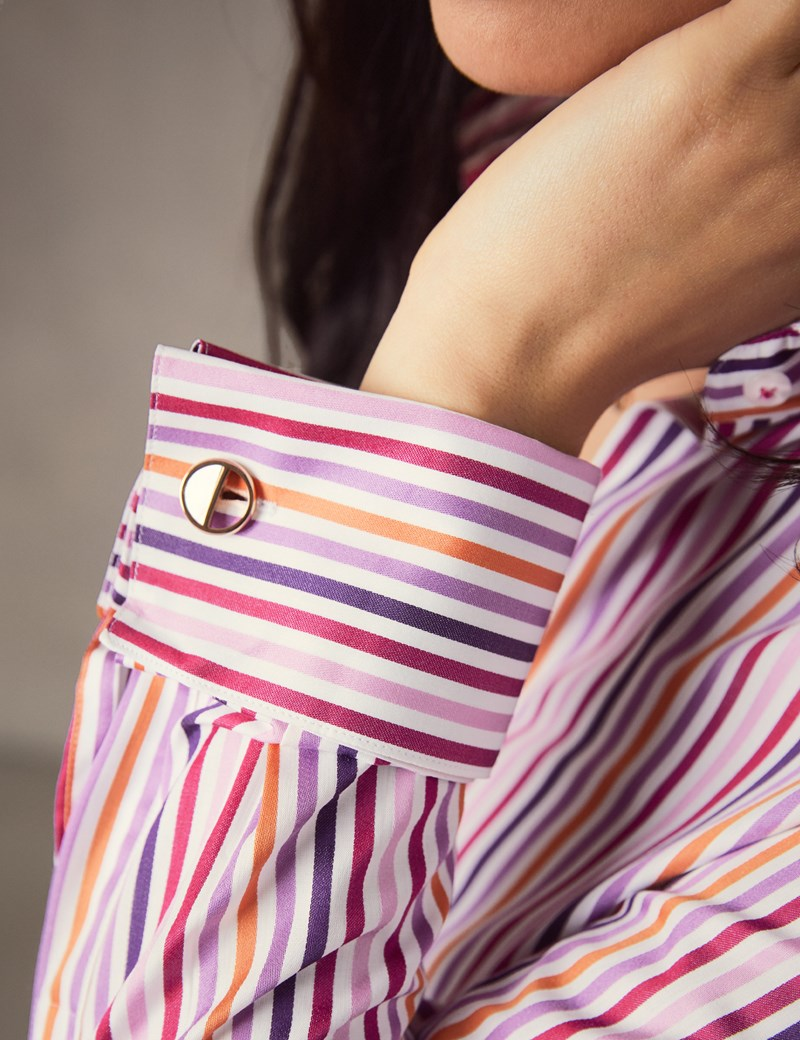 Women's White & Pink Multi Stripe Fitted Shirt – French Cuff