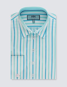 Women's White & Turquoise Jacquard Stripe Fitted Shirt – French Cuff