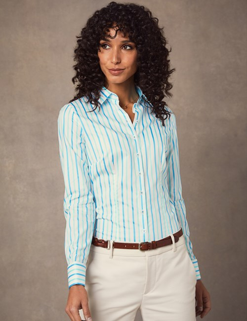 Women's White & Turquoise Jacquard Stripe Fitted Shirt – Double Cuff
