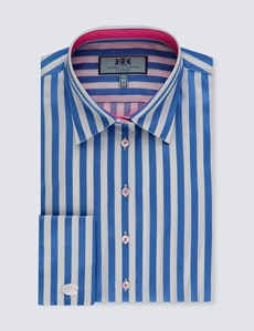 Women's Blue & White Bengal Stripe Fitted Shirt – Double Cuff