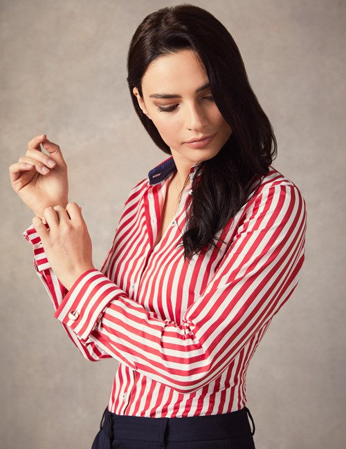 Women's Red & White Bengal Stripe Fitted Shirt – Double Cuff