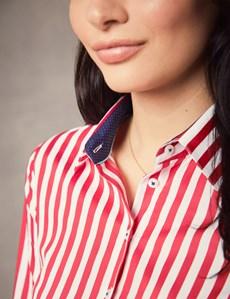 Bluse – Slim Fit – Baumwolle – Manschetten – Blockstreifen rot