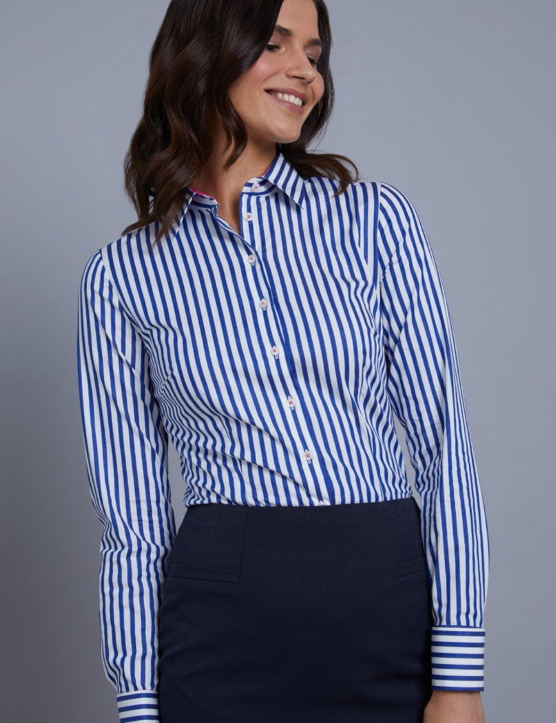 Women's Royal & White Bengal Stripe Fitted Shirt – Double Cuff