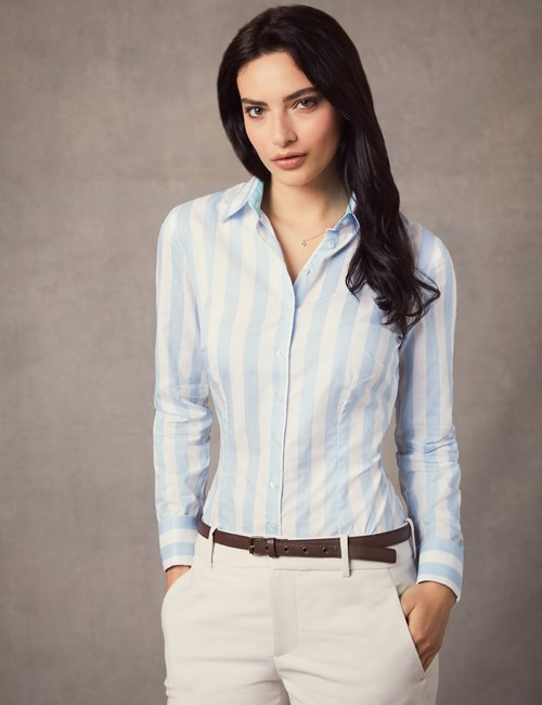 Women's Blue & White Stripe Fitted Shirt  - Double Cuff