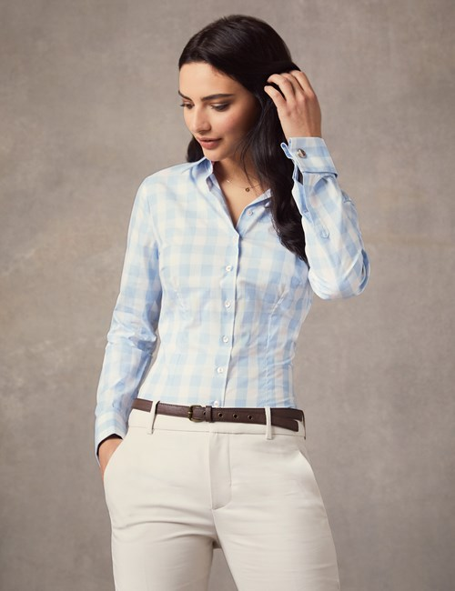 Women's Blue & White Medium Check Fitted Shirt  - Double Cuff