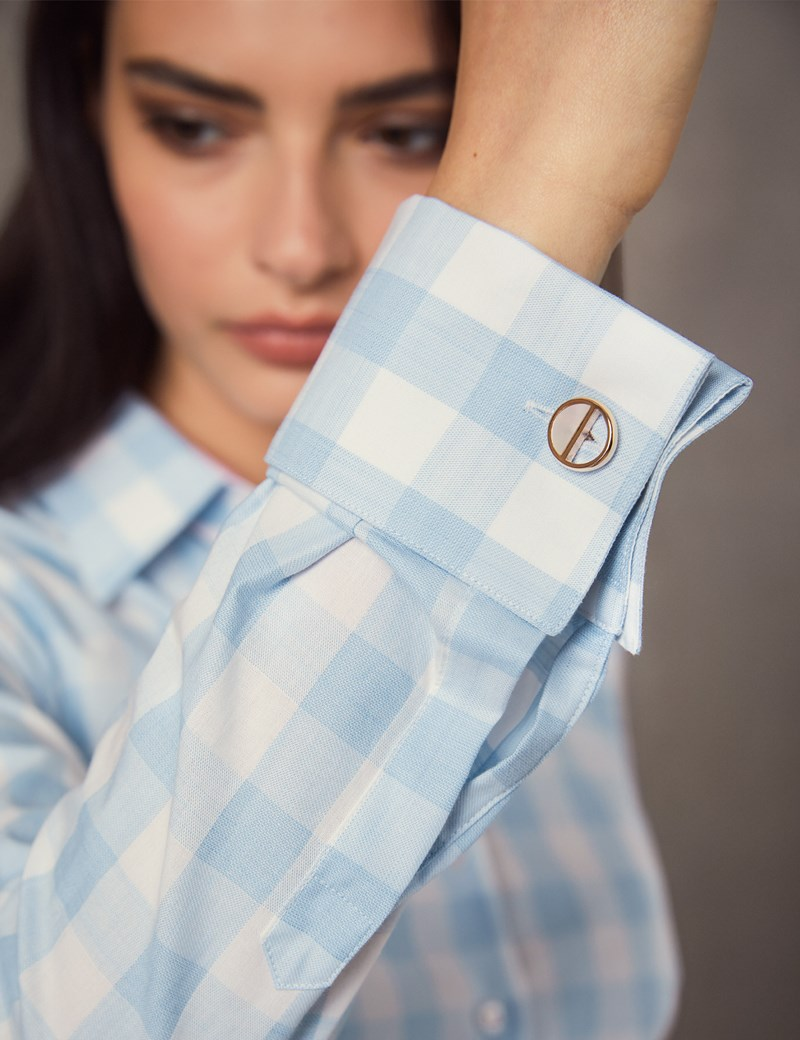 Women's Blue & White Medium Check Fitted Shirt  - French Cuff
