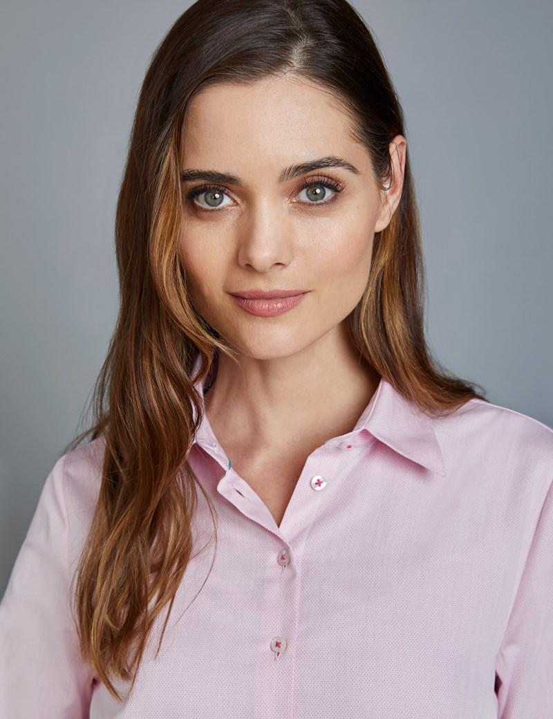 Bluse – Slim Fit – Baumwolle – Manschetten – Dobby Punktemuster rosa