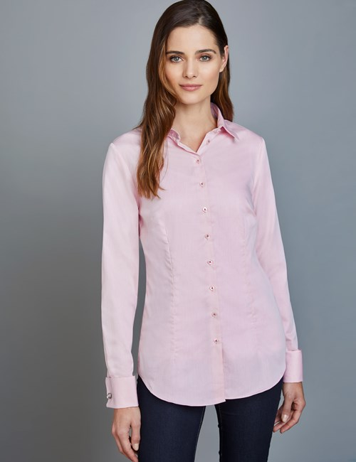 Women's Light Pink Surface Interest Fitted Shirt – Double Cuffs