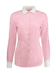 Women's Light Pink End on End Fitted Executive Double Cuff Shirt - 2 Ply 100s Cotton