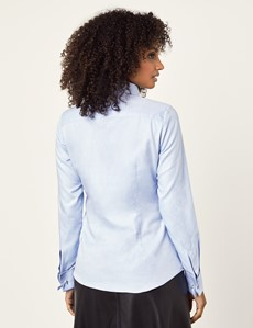 Women's Executive Light Blue Twill Fitted Shirt - Double Cuff