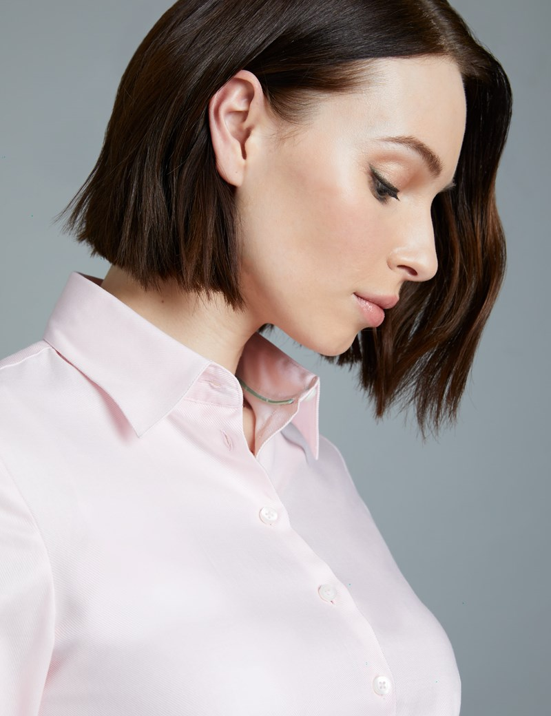 Women's Light Pink Twill Fitted Executive Shirt  - Double Cuff