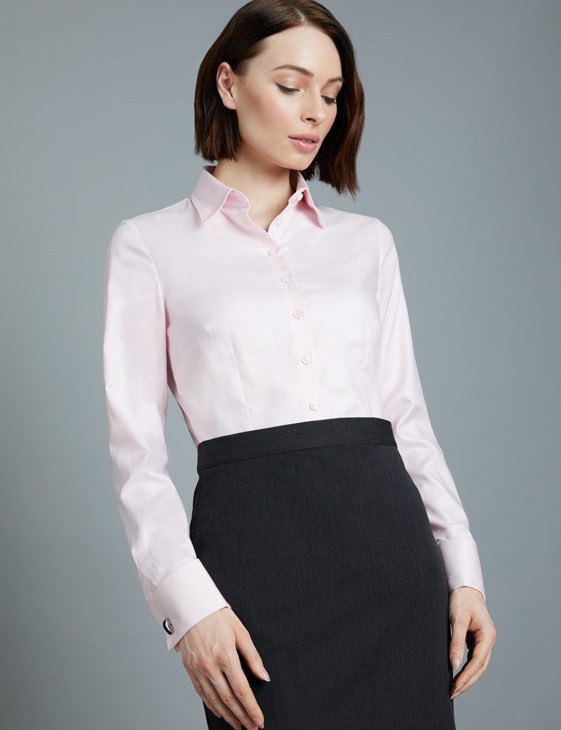 Executive Bluse – Slim Fit – Baumwolle – Manschetten – Twill rosa