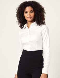 Women's Executive White Twill Fitted Shirt - Double Cuffs