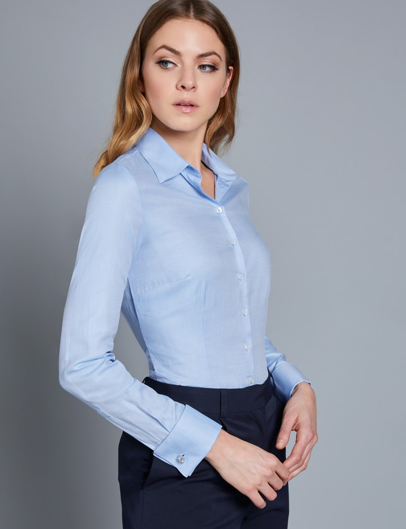 Women's Executive Blue Twill Fitted Shirt - Double Cuff