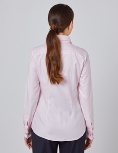 Women's Executive Pink Twill Fitted Shirt - Double Cuff