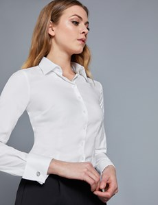 Women's Executive White Twill Fitted Shirt - Double Cuff