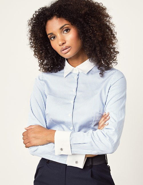 Women's Blue & White Bengal Stripe Fitted Executive Shirt - French Cuff