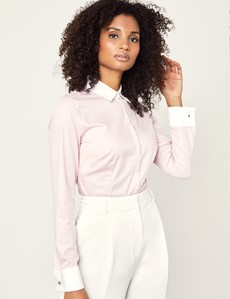 Women's Light Pink & White Bengal Stripe Fitted Executive Shirt - French Cuff