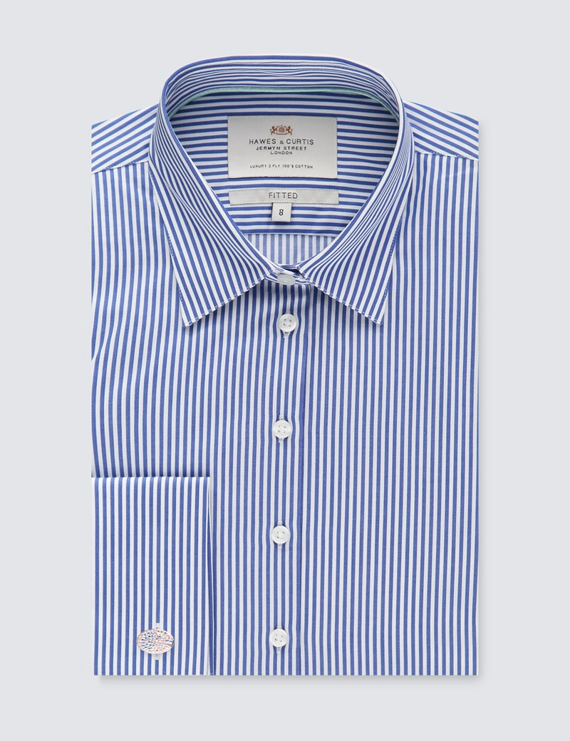 Women's Navy & White Bengal Stripe Fitted Executive Shirt - Double Cuff