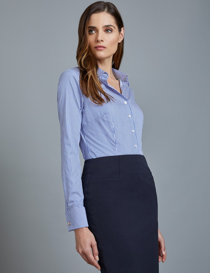 07aef9183 Women's Navy & White Bengal Stripe Fitted Executive Shirt - Double Cuff |  Hawes & Curtis