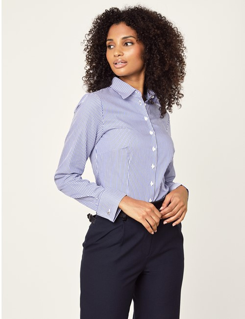 Women's Navy & White Bengal Stripe Fitted Executive Shirt - French Cuff