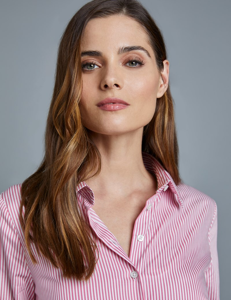 Women's Rose & White Bengal Stripe Fitted Executive Shirt - Double Cuff