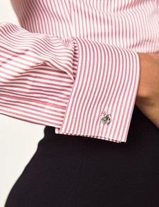 Women's Rose & White Bengal Stripe Fitted Executive Shirt - French Cuff