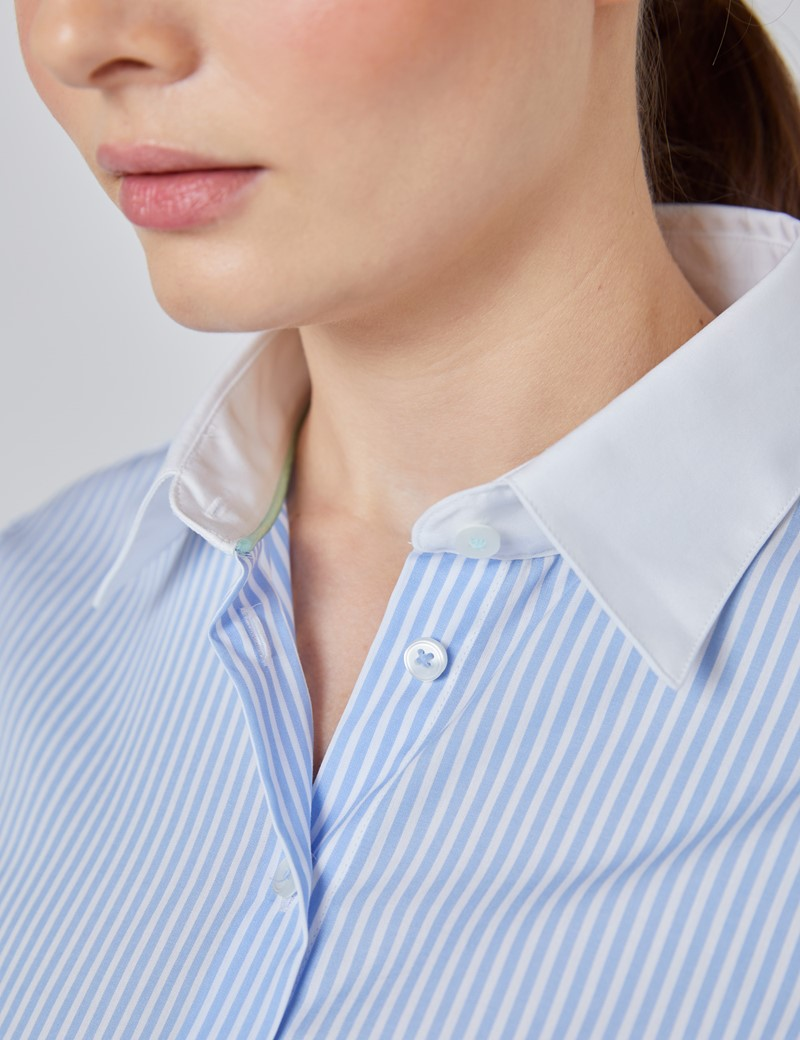 Women's Executive Blue & White Bengal Stripe Fitted Shirt With White Collar and Cuff - Single Cuff