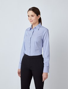 Women's Executive Blue & White Fine Stripe Fitted Shirt - Double Cuffs