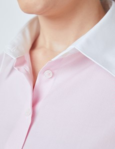 Women's Executive White & Pink Fine Stripe Fitted Shirt With White Collar - Double Cuffs
