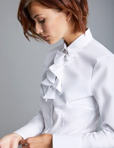 Women's White Poplin Fitted Shirt with Neck Frill Detail - Single Cuff