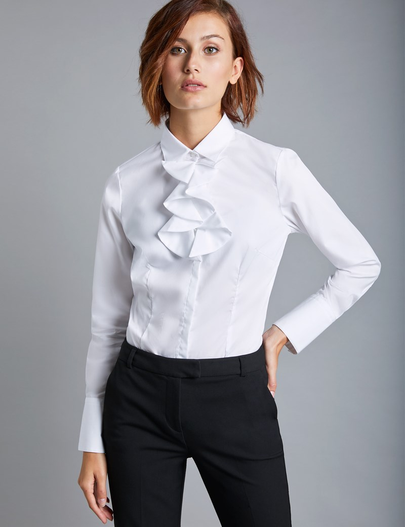 b1ea0c06f2 Women's White Fitted Shirt with Neck Frill Detail - Single Cuff