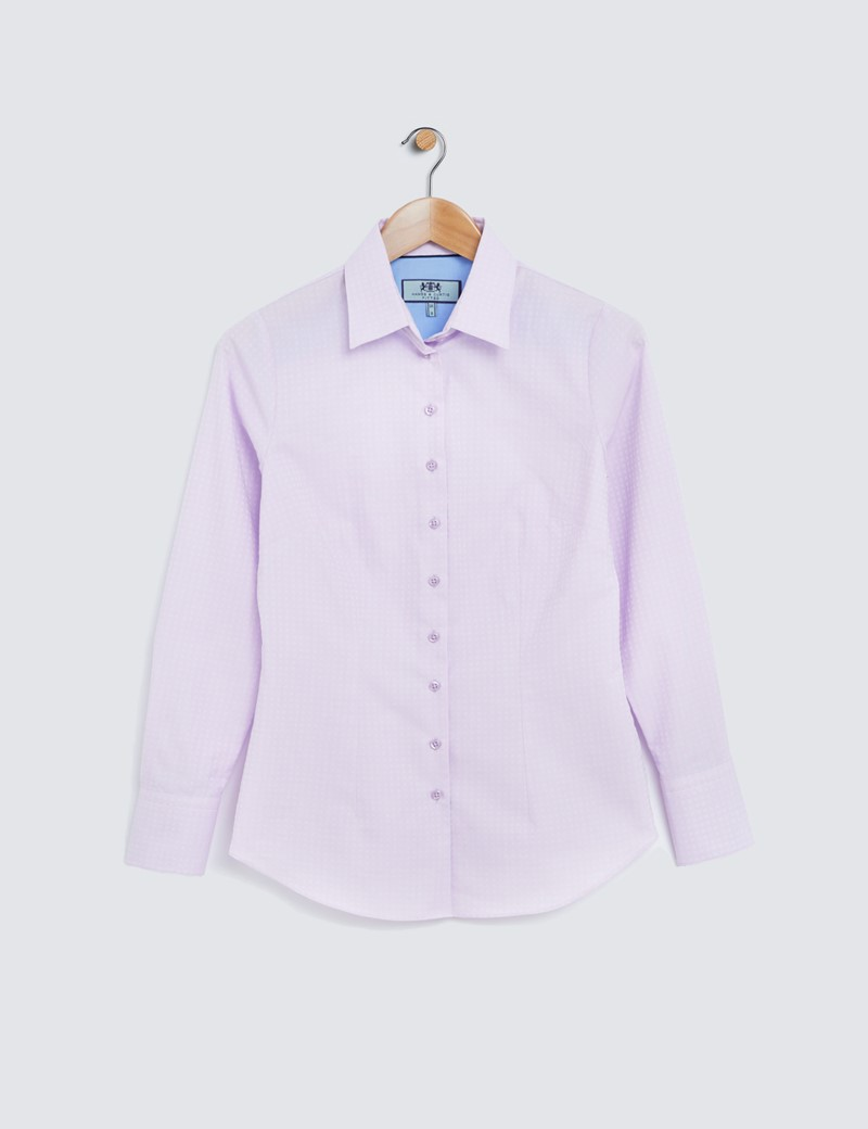 Women's Pink Self Dobby Fitted Shirt