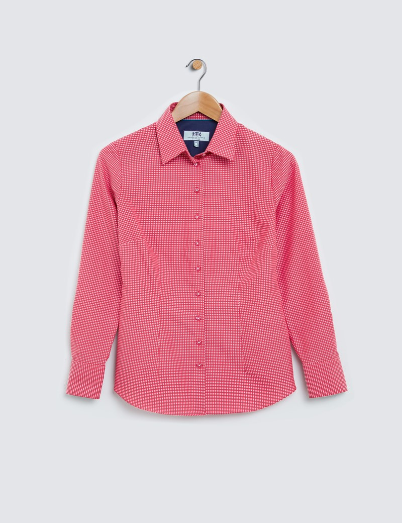 Ladies Red and White Fitted Cotton Shirt