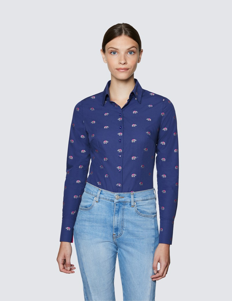 Ladies Navy and Pink Fitted Cotton Shirt