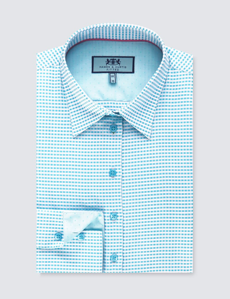 Women's Turquoise & White Dobby Check Fitted Shirt - Single Cuff