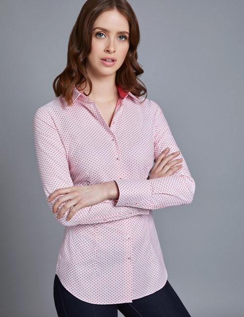 Women's White & Red Dobby Fitted Shirt - Single Cuff