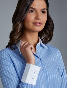 Women's Blue & White Dobby Stripe Fitted Shirt - Single Cuff