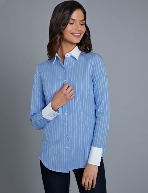 Bluse – Slim Fit – Baumwolle – Streifen in himmelblau