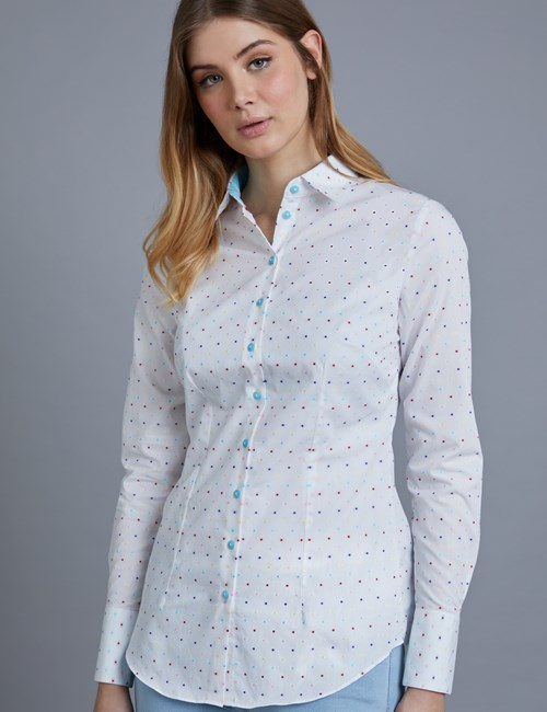 Women's White & Turquoise Dobby Spot Fitted Shirt - Single Cuff