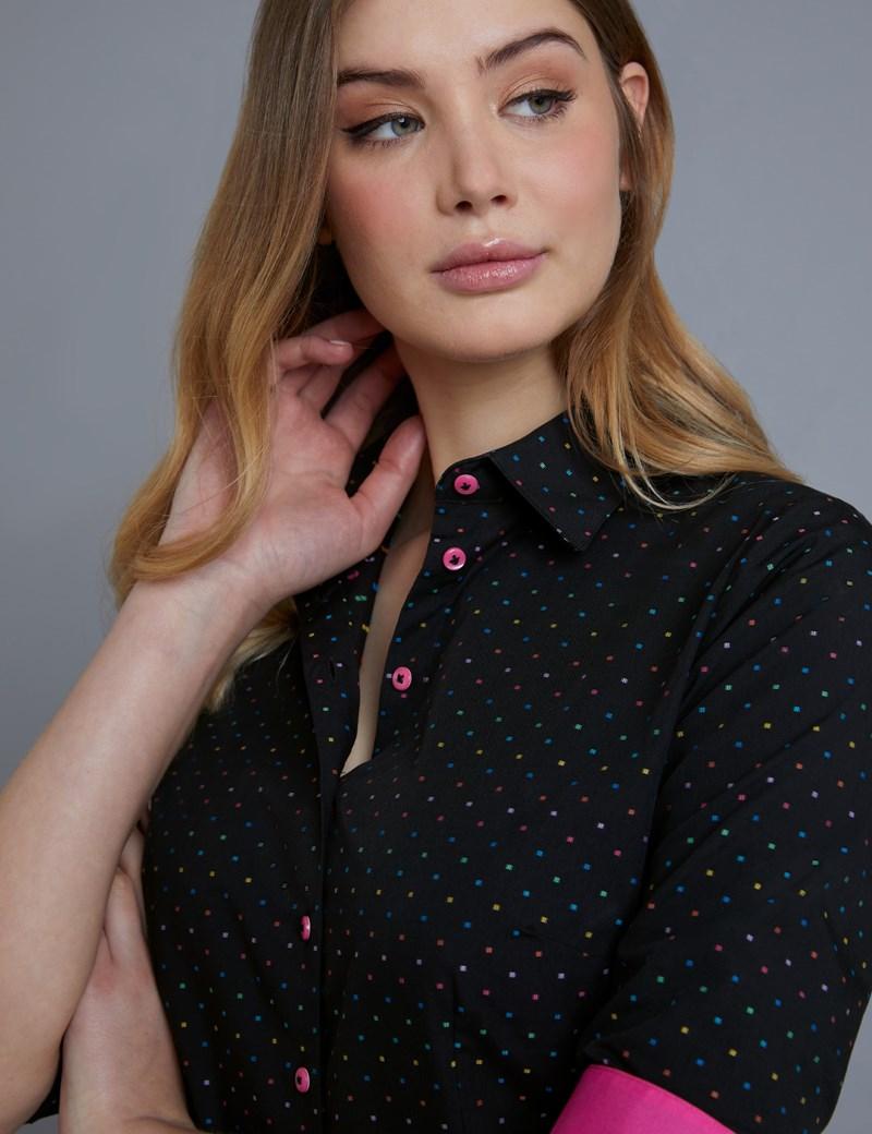 Women's Black & Fuchsia Dobby Spot Fitted Shirt - Single Cuff