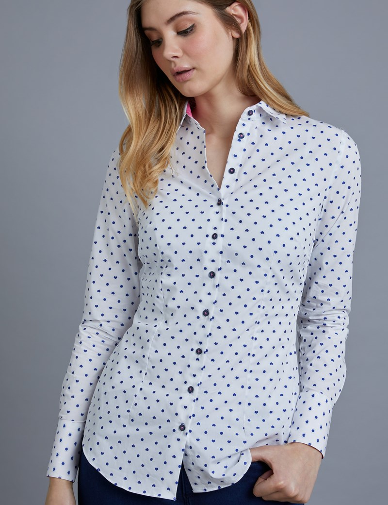 Women's White & Purple Dobby Hearts Print Fitted Shirt - Single Cuff