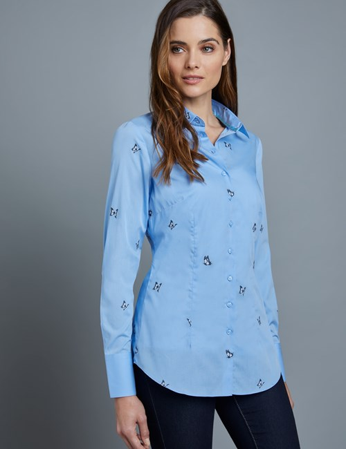 Women's Blue Dobby Butterfly Fitted Shirt - Single Cuff