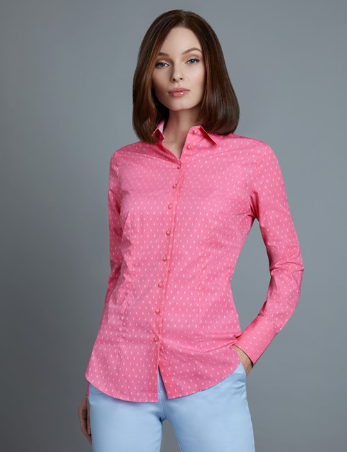 Women's Fuchsia & White Dobby Fitted Shirt - Single Cuff