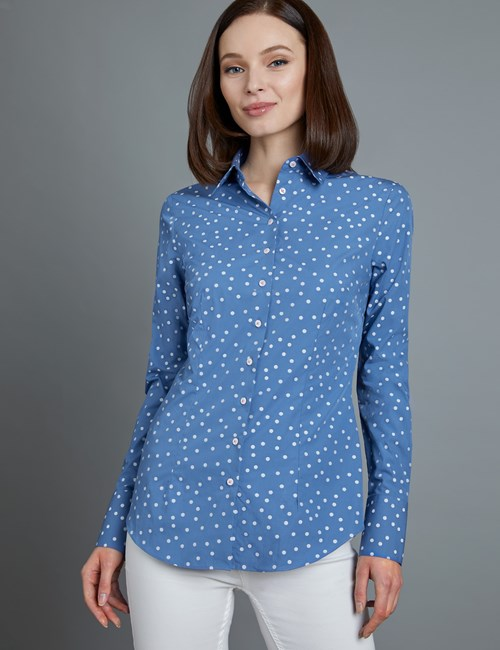 Women's Royal & White Dobby Spot Fitted Shirt - Single Cuff