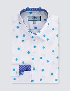 Women's White & Blue Dobby Spot Fitted Shirt - Single Cuff